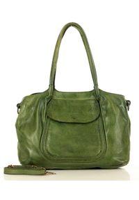 Marco Mazzini handmade - Zielona Torebka Skórzana Shopper Bag MARCO MAZZINI. Kolor: zielony. Materiał: skórzane