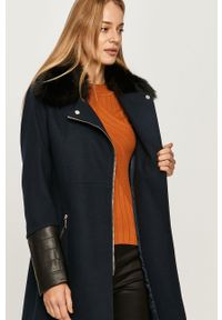 Niebieski płaszcz Morgan bez kaptura, casualowy