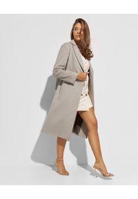 CINZIA ROCCA - Beżowy płaszcz z wełny. Kolor: beżowy. Materiał: wełna