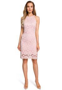 e-margeritka - Sukienka ołówkowa z koronki różowa - m. Okazja: na wesele, na komunię, na ślub cywilny. Typ kołnierza: dekolt halter. Kolor: różowy. Materiał: koronka. Wzór: koronka. Typ sukienki: ołówkowe. Styl: elegancki. Długość: midi