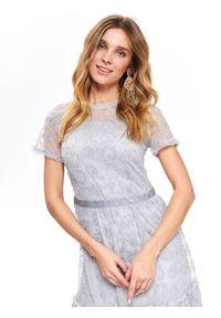 Szara sukienka TOP SECRET z krótkim rękawem, elegancka, na wiosnę