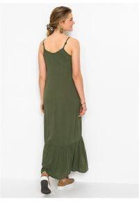 Długa sukienka bonprix ciemny khaki. Typ kołnierza: dekolt w serek. Kolor: zielony. Sezon: lato. Długość: maxi #3