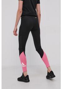 Adidas - adidas - Legginsy. Stan: podwyższony. Kolor: czarny. Materiał: dzianina, materiał. Wzór: gładki