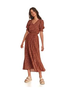 TOP SECRET - Sukienka z bufkami i szeroką gumą w pasie. Typ kołnierza: dekolt w kształcie V. Kolor: czerwony. Materiał: guma. Wzór: nadruk. Sezon: jesień. Długość: maxi