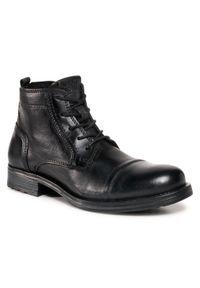 Czarne buty zimowe Jack & Jones eleganckie, z cholewką