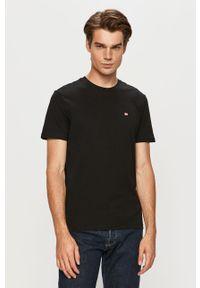 Czarny t-shirt Napapijri casualowy, z aplikacjami, na co dzień