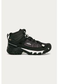 Czarne buty trekkingowe keen z okrągłym noskiem, na sznurówki