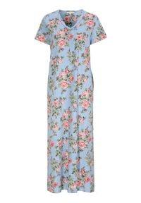 Cellbes Koszula nocna błękitny w kwiaty female niebieski/ze wzorem 38/40. Kolor: niebieski. Materiał: jersey, koronka. Długość: krótkie. Wzór: kwiaty