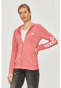 Różowa bluza rozpinana Adidas na co dzień, casualowa, z nadrukiem