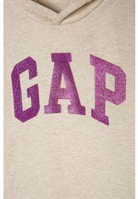 Beżowa bluzka z długim rękawem GAP długa, casualowa