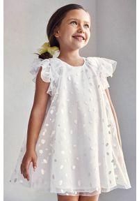 Biała sukienka Mayoral rozkloszowana, z krótkim rękawem, mini