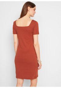 Sukienka w prążek z dekoltem karo bonprix rdzawobrązowy. Typ kołnierza: dekolt w karo. Kolor: brązowy. Materiał: bawełna. Wzór: prążki