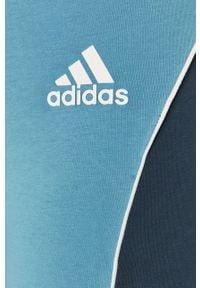 Niebieskie legginsy adidas Performance gładkie, z podwyższonym stanem