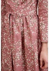 Marie Zélie - Sukienka Melia Lophozia. Typ kołnierza: kokarda. Materiał: bawełna, skóra, materiał, elastan. Styl: klasyczny