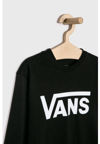 Czarna koszulka z długim rękawem Vans casualowa, z nadrukiem