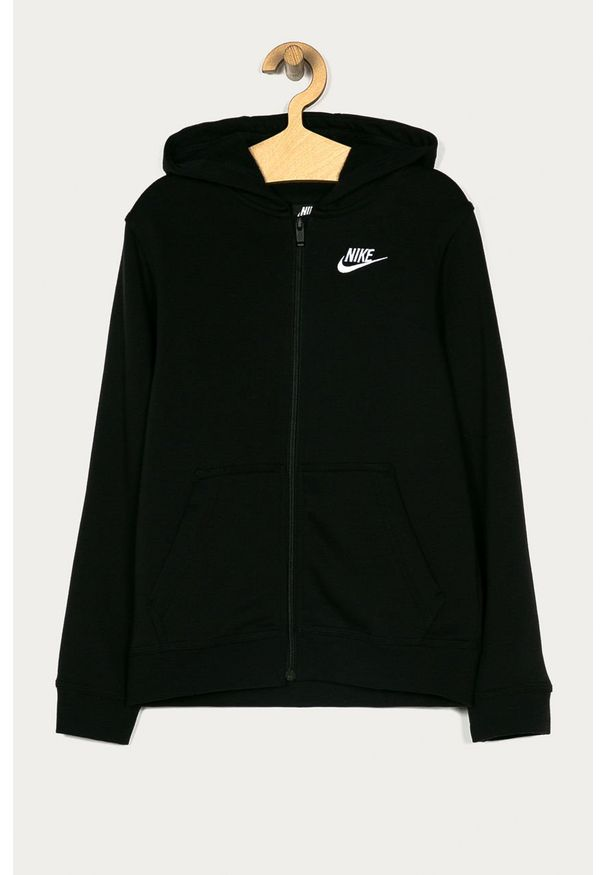 Czarna bluza rozpinana Nike Kids na co dzień, z kapturem, casualowa