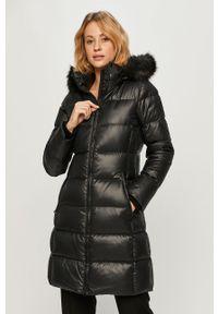 Czarna kurtka Calvin Klein casualowa, z kapturem, na co dzień