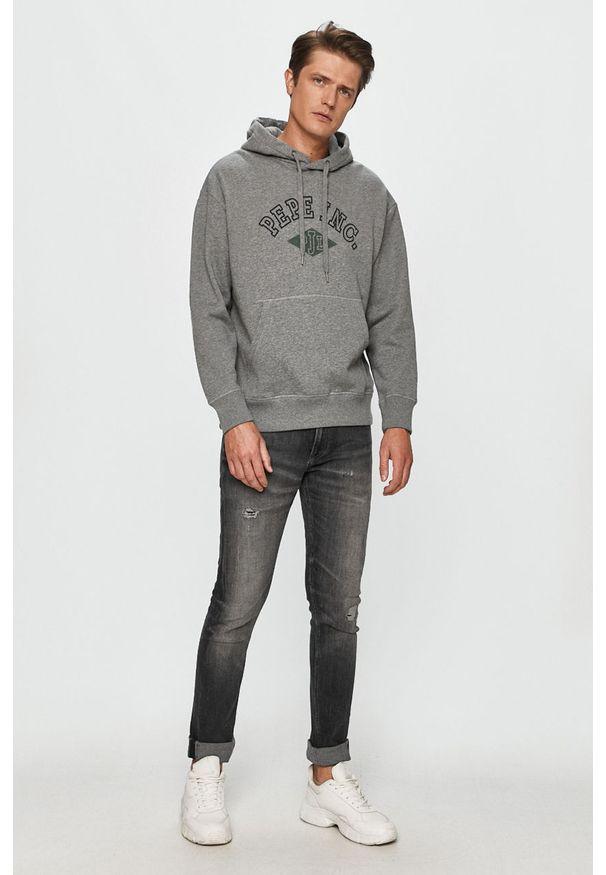 Szara bluza nierozpinana Pepe Jeans z nadrukiem, z kapturem