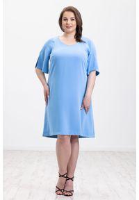 Niebieska sukienka Moda Size Plus Iwanek elegancka, na wiosnę