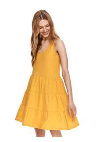 DRYWASH - Krótka sukienka na ramiączkach z falbaną. Kolor: żółty. Materiał: bawełna, tkanina. Długość rękawa: na ramiączkach. Sezon: lato. Styl: wakacyjny. Długość: mini