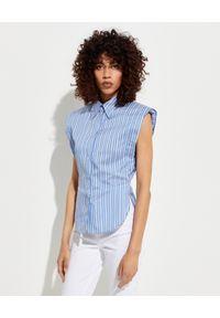 ISABEL MARANT - Jedwabna bluzka w paski Enza. Typ kołnierza: kołnierzyk klasyczny. Kolor: biały. Materiał: jedwab. Wzór: paski. Styl: klasyczny