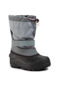columbia - Śniegowce COLUMBIA - Youth Powderbug Plus II BY1326 Grey Ash/Rosewater 021. Okazja: na spacer. Kolor: szary. Materiał: materiał. Szerokość cholewki: normalna. Sezon: zima. Styl: młodzieżowy