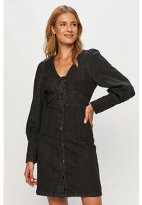 Vero Moda - Sukienka jeansowa. Okazja: na co dzień. Kolor: szary. Materiał: jeans. Długość rękawa: długi rękaw. Typ sukienki: proste. Styl: casual