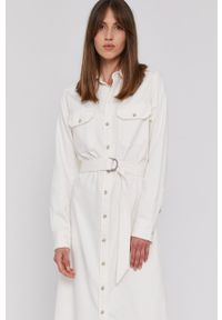 Polo Ralph Lauren - Sukienka jeansowa. Okazja: na co dzień. Typ kołnierza: polo. Kolor: biały. Materiał: jeans. Długość rękawa: długi rękaw. Wzór: gładki. Typ sukienki: proste. Styl: casual