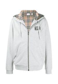 Burberry - BURBERRY - Szara bluza z kapturem. Typ kołnierza: kaptur. Kolor: szary. Materiał: dresówka, jeans, bawełna. Wzór: aplikacja. Styl: vintage