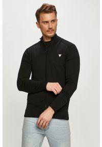 Czarny sweter rozpinany Guess na co dzień, casualowy