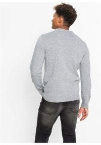 Sweter z bożonarodzeniowym motywem bonprix jasnoszary melanż. Kolor: szary. Materiał: dzianina. Wzór: melanż #3