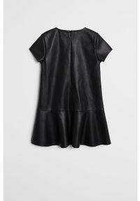 Czarna sukienka Mango Kids rozkloszowana, mini, z krótkim rękawem