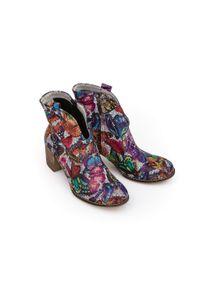 Botki Zapato w kolorowe wzory, na wiosnę, z okrągłym noskiem, wąskie
