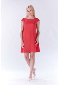 Różowa sukienka Lou-Lou z krótkim rękawem, mini, trapezowa