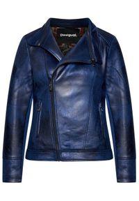 Niebieska kurtka skórzana Desigual