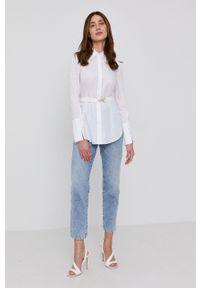 Patrizia Pepe - Koszula bawełniana. Okazja: na co dzień. Kolor: biały. Materiał: bawełna. Długość rękawa: długi rękaw. Długość: długie. Wzór: gładki. Styl: casual
