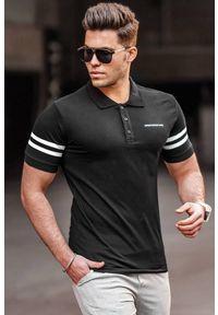IVET - T-shirt męski OLIVER BLACK. Okazja: na co dzień. Typ kołnierza: polo. Kolor: czarny. Materiał: materiał. Styl: casual #1