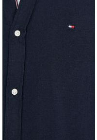TOMMY HILFIGER - Tommy Hilfiger - Koszula z domieszką lnu. Typ kołnierza: button down. Kolor: niebieski. Materiał: len #3
