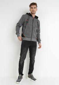 Born2be - Szaro-Pomarańczowa Bluza Phoebione. Kolor: szary. Materiał: jeans, dresówka, dzianina, polar. Długość rękawa: długi rękaw. Długość: długie. Wzór: melanż, aplikacja