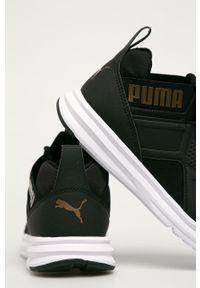 Czarne buty sportowe Puma na sznurówki, z cholewką, z okrągłym noskiem