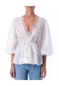 Ermanno Firenze - ERMANNO FIRENZE - Ażurowa bluzka z koronką i haftem. Kolor: biały. Materiał: koronka. Wzór: haft, ażurowy, koronka. Sezon: wiosna, lato