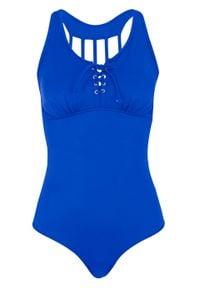 Niebieski strój kąpielowy jednoczęściowy bonprix
