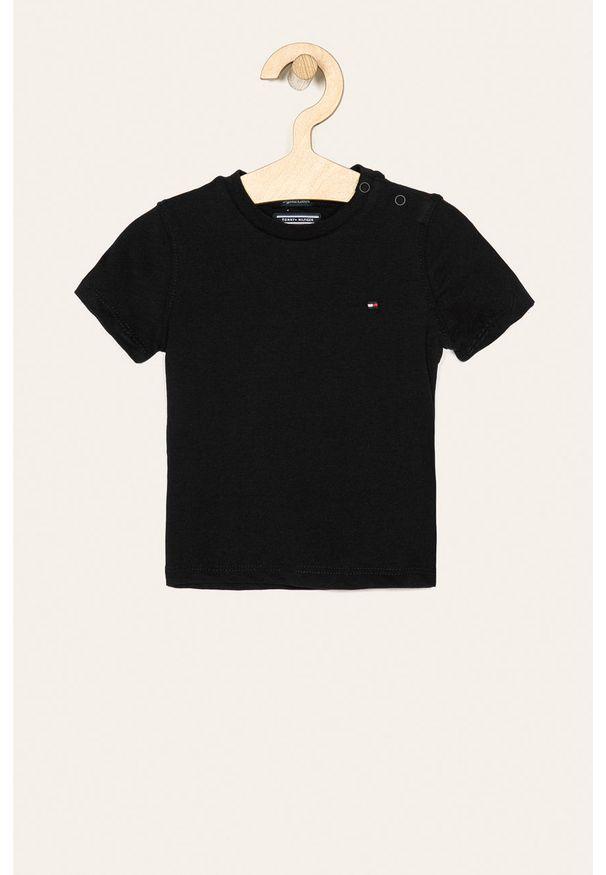 Czarny t-shirt TOMMY HILFIGER z okrągłym kołnierzem, na co dzień, casualowy
