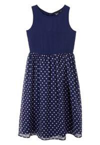 Sukienka dziewczęca w kropki na uroczyste okazje bonprix ciemnoniebiesko-biały w kropki. Kolor: niebieski. Wzór: kropki