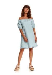 TOP SECRET - Sukienka mini o luźnym kroju. Kolor: niebieski. Sezon: lato. Typ sukienki: z odkrytymi ramionami. Styl: wakacyjny. Długość: mini