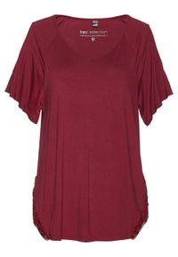 Czerwona bluzka bonprix w koronkowe wzory