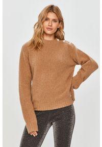 Beżowy sweter Miss Sixty klasyczny, długi, z długim rękawem