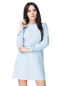 Tessita - Błękitna Sukienka Wizytowa z Wiązaniami. Kolor: niebieski. Materiał: elastan, poliester. Styl: wizytowy