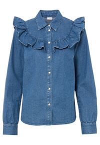 """Koszula dżinsowa z falbanami bonprix niebieski """"stone"""". Kolor: niebieski. Styl: elegancki"""