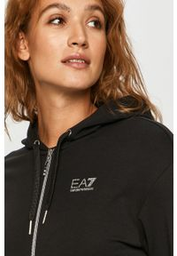 Czarna bluza rozpinana EA7 Emporio Armani na co dzień, casualowa, z aplikacjami, z kapturem